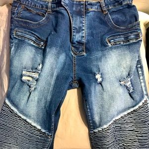 Distressed/Ribbed Blue Jeans - Size 38/30
